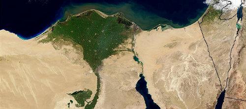 Nildelta aus dem Weltall aufgenommen