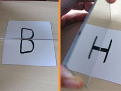 Buchstaben halbieren